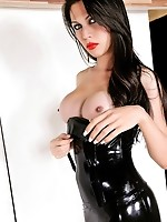 Hot shemale in sexy black latex